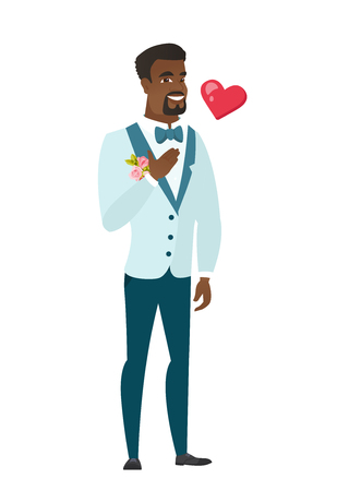 fiance: African-american groom in a wedding suit holding hand on chest. Full length of young groom with hand on his chest and heart flying nearby. Vector flat design illustration isolated on white background. Illustration