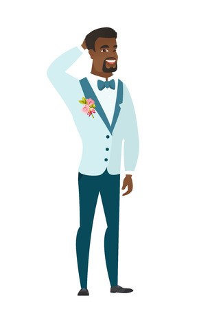 African-american groom scratching his head. Full length of groom in a wedding suit touching his head. Happy groom holding hand behind head. Vector flat design illustration isolated on white background