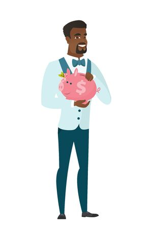 African-american groom in a wedding suit holding a piggy bank with dollar sign. Full length of young groom with a piggy bank in hands. Vector flat design illustration isolated on white background. Illustration
