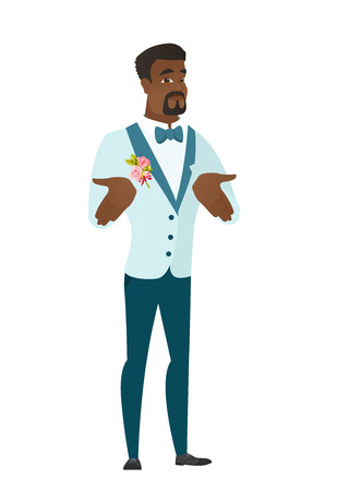 Confused african-american bridegroom shrugging shoulders. Full length of doubtful bridegroom gesturing hands and shrugging his shoulders. Vector flat design illustration isolated on white background.