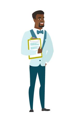 Afroamerikanerbräutigam in einem Hochzeitsanzug, der ein Klemmbrett mit Papieren hält. In voller Länge vom Bräutigam mit Papieren. Junge Bräutigamholdingpapiere. Vector die flache Designillustration, die auf weißem Hintergrund lokalisiert wird. Standard-Bild - 81483318