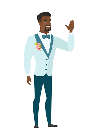 手を振って結婚式スーツでアフリカ系アメリカ人の新郎。手を振って新郎の全長。新郎挨拶のジェスチャーを作る - の手を振ってします。ベクトル   イラスト・ベクター素材