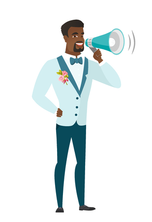 African bridegroom with a loudspeaker making an announcement. Full length of bridegroom making an announcement through a loudspeaker. Vector flat design illustration isolated on white background. Illustration