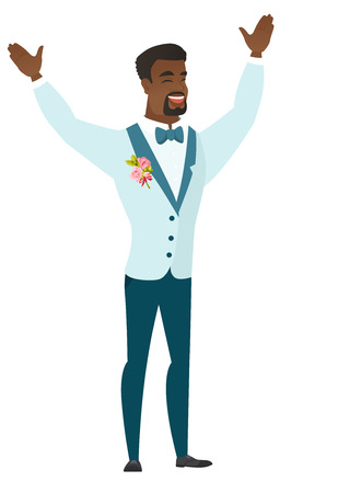 Successful african-american groom jumping with raised arms up. Full length of young happy groom jumping in the air and celebrating success. Vector flat design illustration isolated on white background