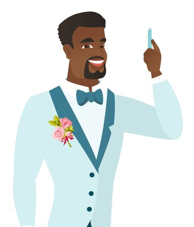 Young african-american smiling groom with a pen ready to sign marriage official document register. Vector flat design illustration isolated on white background.
