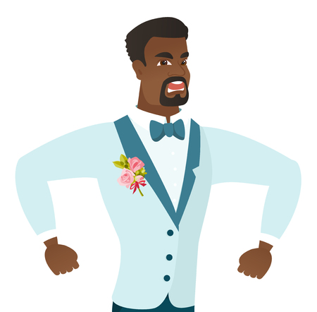 man yelling: African-american angry groom screaming. Young angry groom clenching fists. Angry groom in a wedding suit shouting with raised fists. Vector flat design illustration isolated on white background.
