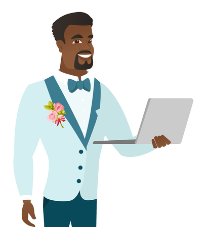African-american groom using a laptop. Young smiling groom working on a laptop. Cheerful groom in a wedding suit holding a laptop. Vector flat design illustration isolated on white background. Illustration