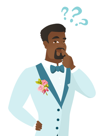 Young thoughtful african-american groom looking at question marks above his head. Thinking groom with question marks. Vector flat design illustration isolated on white background.