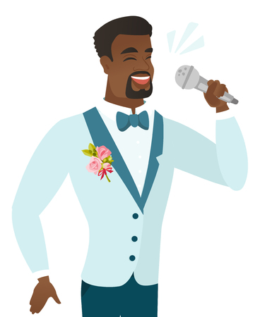 African-american groom in a wedding suit singing to the microphone. Young groom singing with closed eyes. Happy groom singing to the mic. Vector flat design illustration isolated on white background.