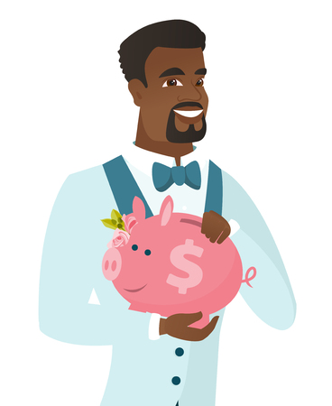 Smiling african-american groom in a wedding suit holding a piggy bank with dollar sign. Young groom with a piggy bank in hands. Vector flat design illustration isolated on white background.  イラスト・ベクター素材