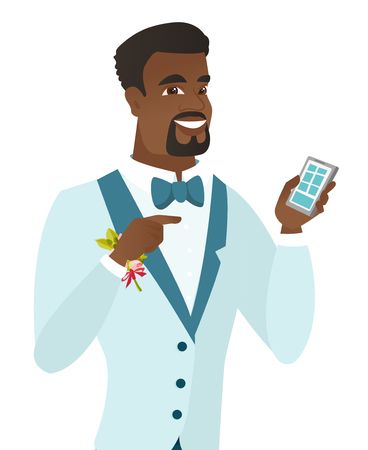 Happy african-american groom holding a mobile phone. Young groom pointing at a mobile phone. Groom using a mobile phone. Vector flat design illustration isolated on white background.