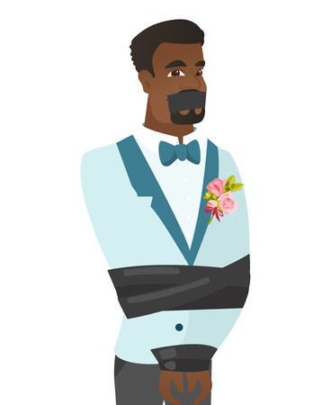 Young african groom tied up with rope and gagged with adhesive tape. Groom taken hostage. Groom with tape on his mouth and bound hands. Vector flat design illustration isolated on white background. 일러스트