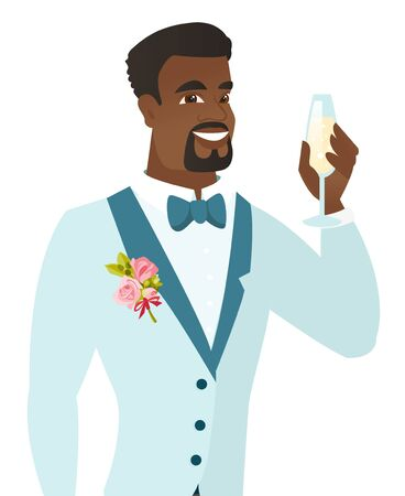 and delighted: African-american happy groom holding a glass of champagne. Young delighted groom saying a toast with a glass of champagne in hand. Vector flat design illustration isolated on white background.