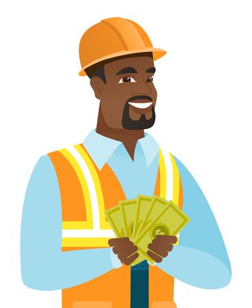 幸せな笑顔のアフリカ系アメリカ人のビルダーの手でお金を保持します。若者はお金を示すハード帽子でビルダーを興奮させた。ベクトル フラット