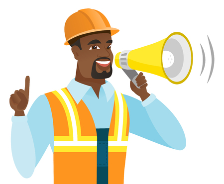 African-american builder with megaphone making an announcement. Builder in hard hat and workwear making an announcement through megaphone. Vector flat design illustration isolated on white background. Illustration
