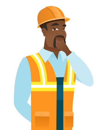 black man thinking: Young african-american builder thinking. Young thinking builder with hand on chin. Builder thinking and looking to the side. Vector flat design illustration isolated on white background.