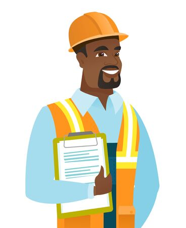 African-american builder holding clipboard with papers. Full length of young builder with papers. Young smiling builder holding papers. Vector flat design illustration isolated on white background.