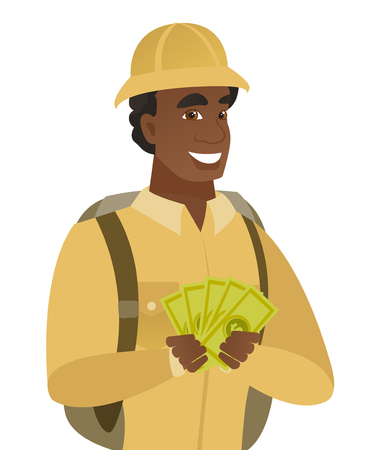Happy african-american traveler holding money. Excited traveler standing with money in hands. Young smiling traveler with money. Vector flat design illustration isolated on white background. Ilustração