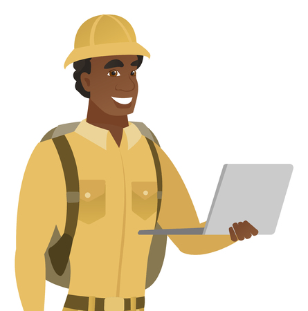 African-american traveler using a laptop. Young smiling traveler working on a laptop. Cheerful traveler holding a laptop. Vector flat design illustration isolated on white background. Illustration