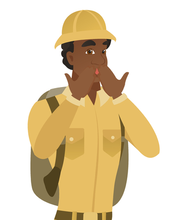 Shoked african-american traveler covering his mouth with hands. Young traveler with a shocked facial expression. Vector flat design illustration isolated on white background. Illustration