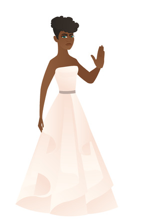 black family: African-american fiancee in white dress showing palm hand. Full length of fiancee showing palm hand. Fiancee making stop gesture by palm. Vector flat design illustration isolated on white background.