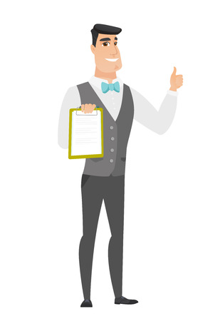 fiance: Caucasian groom holding clipboard and giving thumb up. Full length of groom in a wedding suit with clipboard.