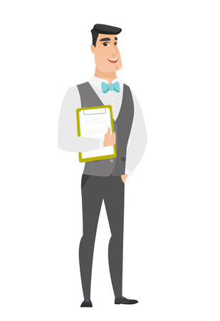 Groom holding clipboard with papers.