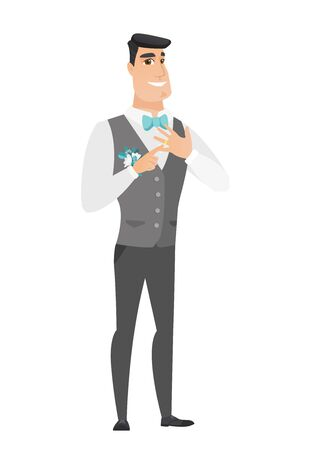 Caucasian cheerful groom showing golden ring on his finger. Young joyful groom with wedding ring on a finger. Vector flat design illustration isolated on white background.