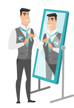 looking in mirror: Cheerful caucasian groom has a final preparation before the wedding in front of the mirror. Groom looking in the mirror and adjusting tie. Vector flat design illustration isolated on white background.