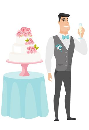 and delighted: Happy groom standing near wedding cake and holding a glass of champagne. Delighted groom saying a toast with a glass of champagne in hand. Vector flat design illustration isolated on white background.