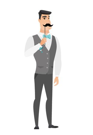 Young caucasian groom holding a fake paper moustache on a stick in front of his face. Cheerful groom with a fake mustache. Vector flat design illustration isolated on white background.