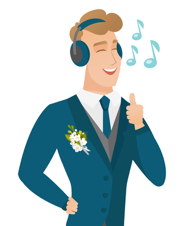 Caucasian groom listening to music in headphones. Young groom with closed eyes listening to music in headphones and singing. Vector flat design illustration isolated on white background.