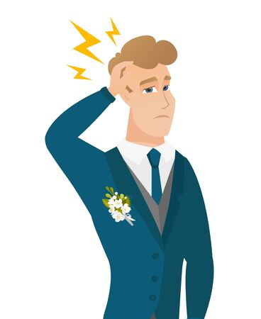 Caucasian groom with lightning over his head. Young groom standing under lightning. Vector flat design illustration isolated on white background.