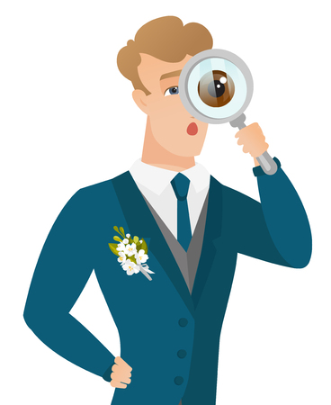 shoked: Shoked caucasian groom with magnifying glass. Young groom in a wedding suit looking through a magnifying glass. Vector flat design illustration isolated on white background.