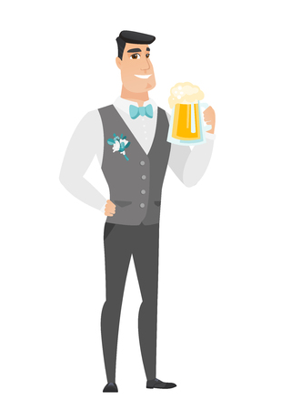 Cheerful caucasian groom in a wedding suit drinking beer. Full length of smiling groom with beer. Young happy groom holding a mug of beer. Vector flat design illustration isolated on white background.