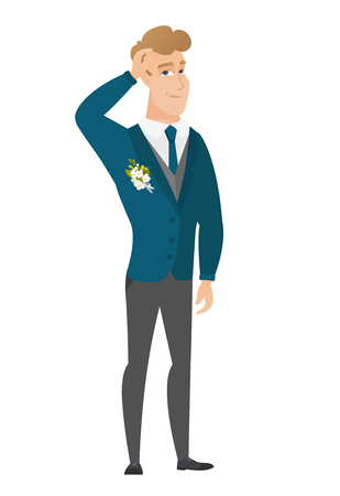 Caucasian groom in a wedding suit scratching his head. Full length of thoughtful groom scratching head. Puzzled groom scratching his head. Vector flat design illustration isolated on white background. Vettoriali