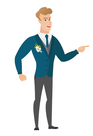 Caucasian furious groom screaming and pointing his finger to the right. Full length of aggressive groom screaming and shaking his finger. Vector flat design illustration isolated on white background.