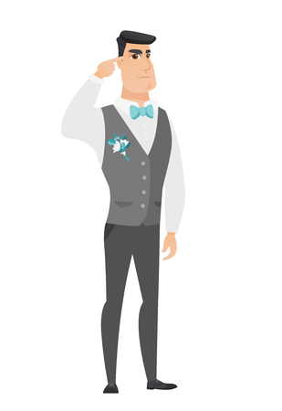 Caucasian groom in a wedding suit gesturing with his finger against his temple. Full length of groom twisting his finger against temple. Vector flat design illustration isolated on white background. Illustration
