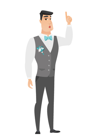 came: Caucasian bridegroom with open mouth pointing finger up. Full length of young bridegroom with open mouth came up with successful idea. Vector flat design illustration isolated on white background.