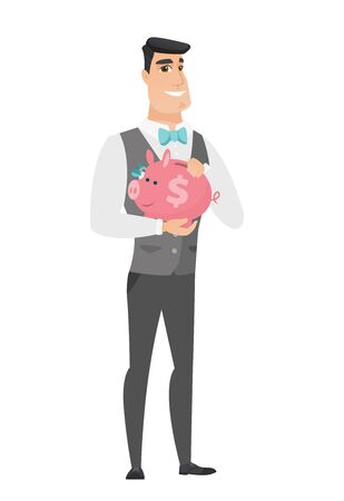 fiance: Smiling caucasian groom in a wedding suit holding a piggy bank with dollar sign. Full length of young groom with a piggy bank in hands. Vector flat design illustration isolated on white background Illustration