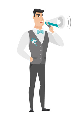 proclaim: Caucasian groom talking into loudspeaker. Illustration