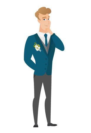 Caucasian groom thinking vector illustration
