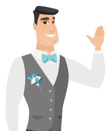 Young caucasian groom in a wedding suit waving his hand. Groom making greeting gesture - waving hand. Vector flat design illustration isolated on white background. Иллюстрация