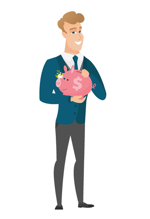 Caucasian groom holding a piggy bank. Illustration