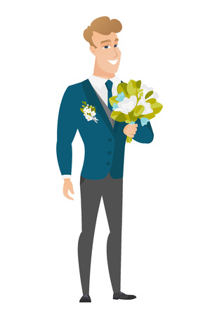 Young caucasian groom with a bridal bouquet. Merry smiling groom in a suit holding a wedding bouquet. Vector flat design illustration isolated on white background. Illustration