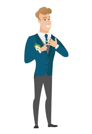 Cheerful groom showing golden ring on his finger. Illustration