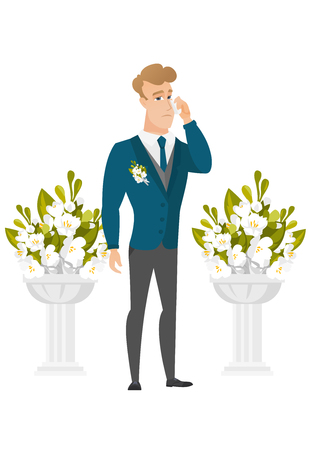 altar: Young caucasian sorrowful groom in a suit crying during wedding ceremony. Groom waiting for a bride and crying in front of wedding altar. Vector flat design illustration isolated on white background.