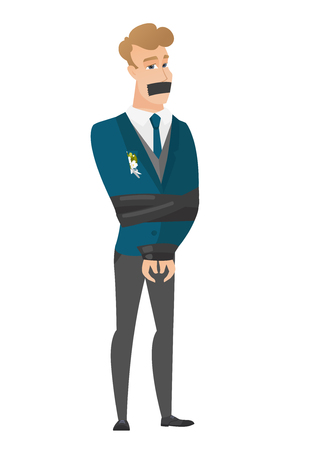 trapped: Young caucasian groom tied up with rope and gagged with adhesive tape. Groom taken hostage. Groom with tape on his mouth and bound hands. Vector flat design illustration isolated on white background. Illustration