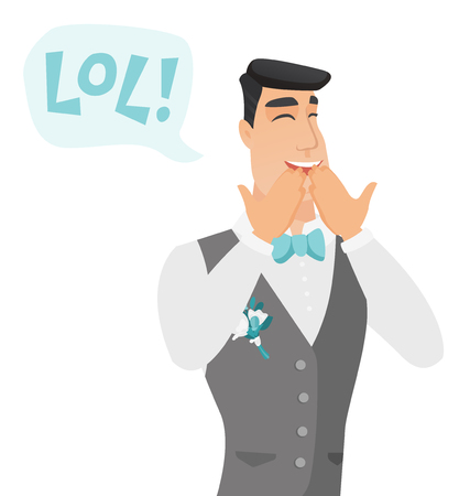 Young caucasian groom laughing out loud. Groom and speech bubble with text - lol. Groom laughing out loud and covering his mouth. Vector flat design illustration isolated on white background.