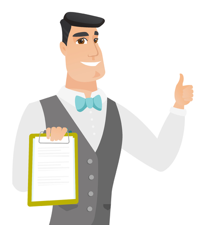 Caucasian groom holding clipboard and giving thumb up. Young groom in a wedding suit with a clipboard. Groom showing clipboard. Vector flat design illustration isolated on white background.